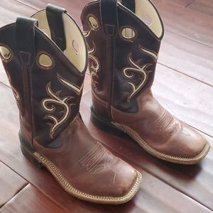 Old West boys cowboy boots leather sz 12